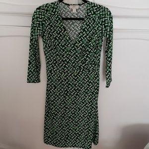 Ann Taylor Loft Green Geometric Faux Wrap Dress 0